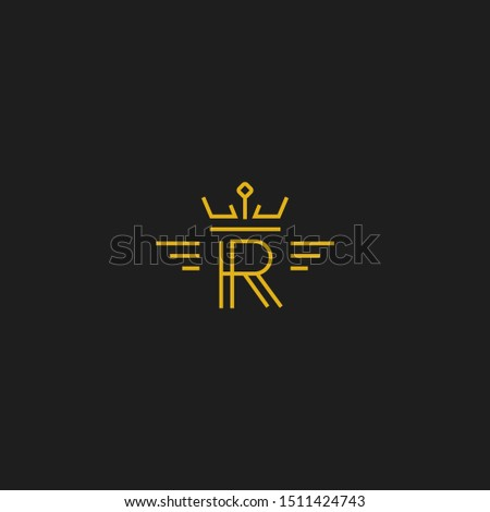 Letter R logo in monoline line style gold color icon with crown and wing Photo stock ©