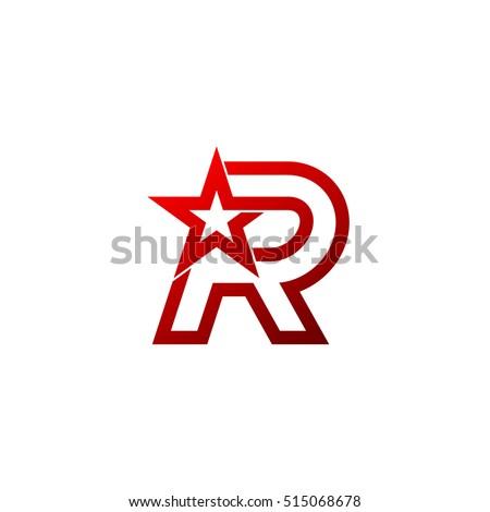 Letter R logo,Red Star sign Branding Identity Corporate unusual logo design template Stock fotó ©