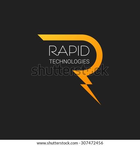 Letter R Logo Vector Lightning