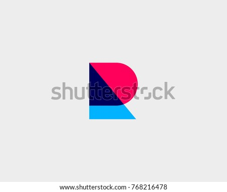Letter R logotype. Colorful overlay vector icon logo