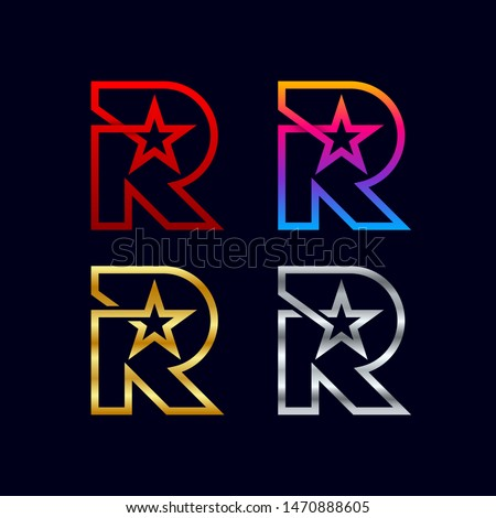 Letter R logotypes with Star logos, Award Contest Sign, Sport Winner Champion Symbols, Gold and Silver Luxury Premium Icons, Success and Achievement for Business Corporate identity vector Stock fotó ©
