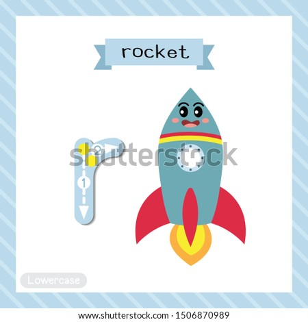 Letter R lowercase cute children colorful transportations ABC alphabet tracing flashcard of Rocket for kids learning English vocabulary and handwriting Vector Illustration.