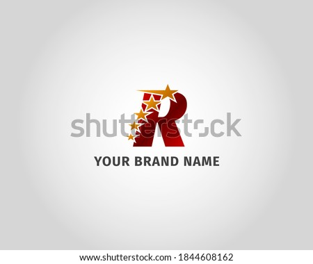 letter R red metallic with five golden star logo template Stock fotó ©