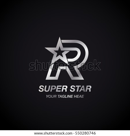 Letter R Star logo,Silver Color,Winner, Award, Premium logotype Stock fotó ©