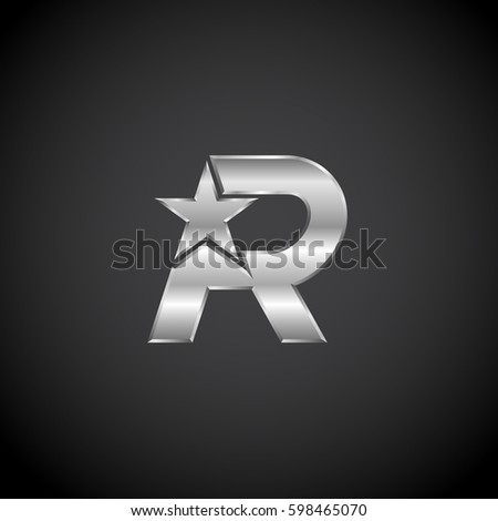 Letter R Star with metallic texture,3d Glossy, metal texture, Silver, steel logotype Stock fotó ©