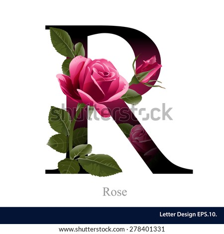 Letter R vector alphabet with rose flower. ABC concept type as logo ...