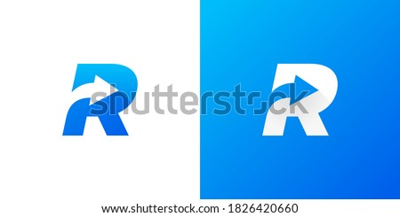 Letter R with Arrow . Letter R arrow logo design . vector illustration eps10 Stock fotó ©
