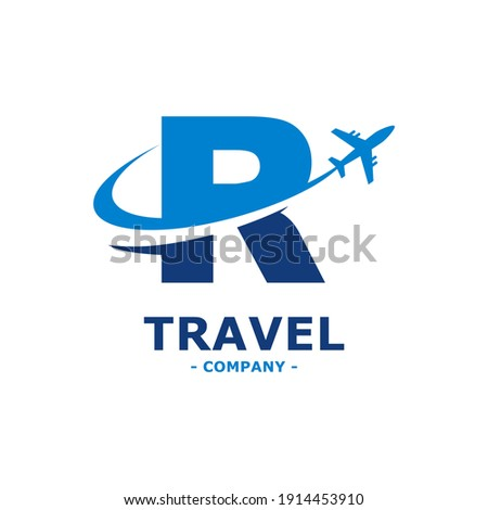 letter R with plane and airline logo vector template. Suitable for travel label, tourism, journey posters, flight company advertising, airways identity, and tech transportation Photo stock ©