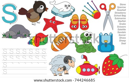 Letter S. Dot to dot educational game for kids.