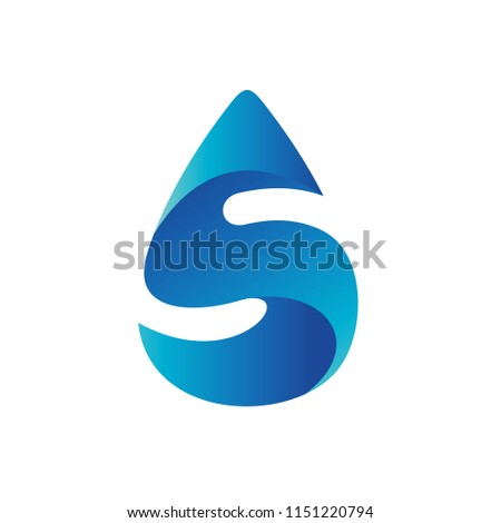 Letter S in Water Drop Logo Template