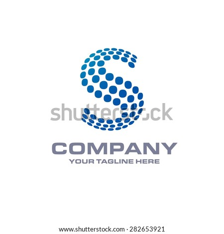 Letter s logo , Blue Bold sphare logo on white background . Place for Company name and tag line . Business logo - vector illustration