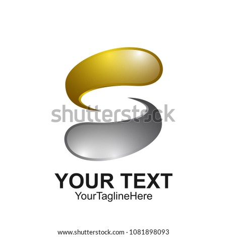 Letter S logo design template colored silver gold water drop design for business and company identity. Abstract initial S alphabet logo element.