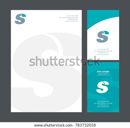 letter s logo icon with business card and letter head stationery vector template