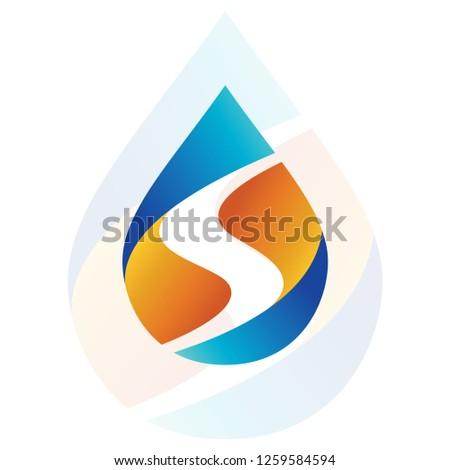 Letter S on the water drop logo, Oil, Rain drop initial S, Letter S logo
