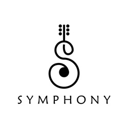 letter s sing a song sound guitar instrument music symphony logo design