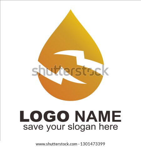 Letter S + Water drop logo, Initial S thunder in water drop shape. logo for oil,gas and water company