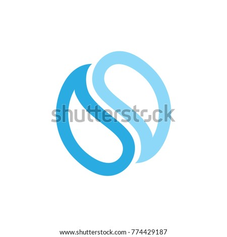letter s water drop negative space  logo