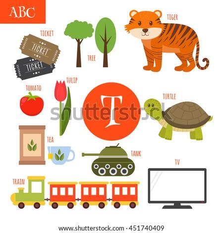 letter t cartoon alphabet for