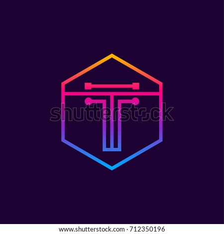 letter t colorful  dots logo