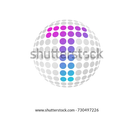 Letter T Dot 3D Sphere Icon Logo Design Element