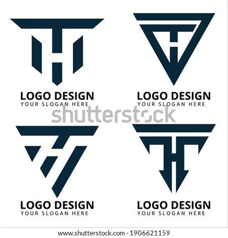 Letter T H Modern Logo Design Stock fotó ©