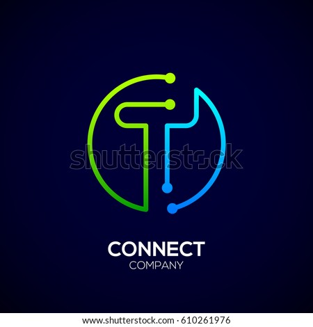 Letter T logo, Circle shape symbol, green and blue color, Technology and digital abstract dot connection