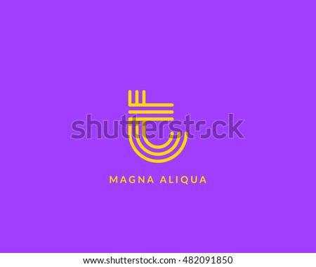 Letter 'T' logo monogram. Creative line art design. Eps10 Vector line logotype. Stock fotó ©
