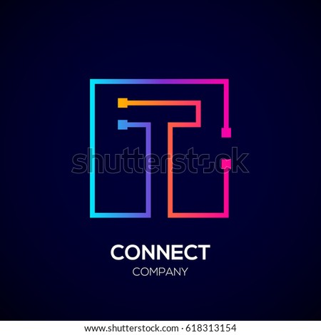 Letter T logo, Square shape, Colorful, Technology and digital abstract dot connection