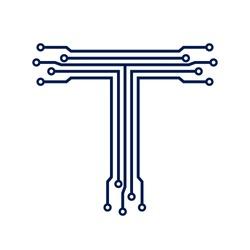 letter T logo. tech vector design