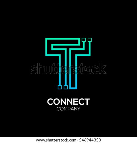 Letter T logotype blue and green color,Technology and digital abstract dot connection vector logo
