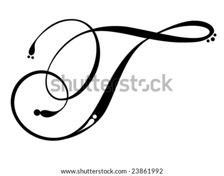 Tatto  on Letter T   Script Stock Vector 23861992   Shutterstock