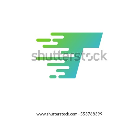 Letter T Speed Logo Design Element