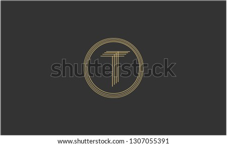 Letter T, T T T Creative Minimal Abstract Unique Luxury Style Premium Graphic Alphabet Icon Vector Logo Design Template Element in Golden color with Gray background.