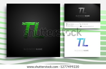 Letter TL logotype with colorful circle, with striped composition letter, sets of business card for company identity, creative industry, web.  Photo stock ©