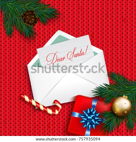 Letter to Santa Claus. Christmas card with  box gift, bow, candy cane, gold bubble on red knitted background. Christmas ornament decorations. Vector calligraphy lettering
