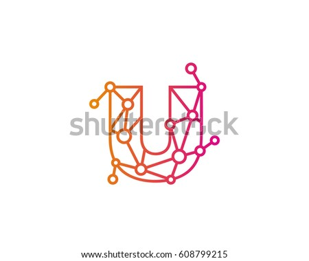 Letter U Connected Circle Network Logo Design Element