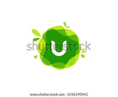 letter u logo at green
