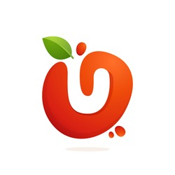 Letter U logo in fresh juice splash with green leaves. Vector elements for natural application, ecology presentation, business card or cafe posters.