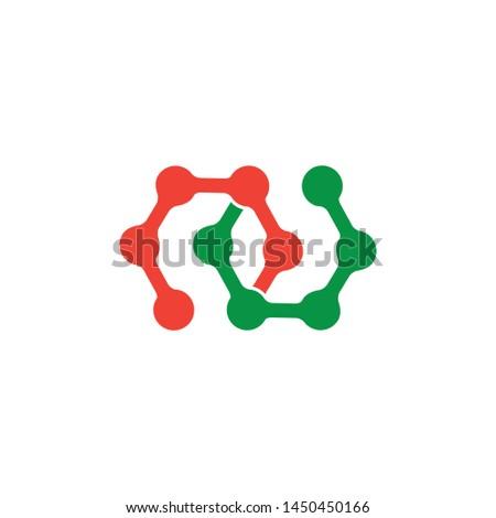 letter un linked dots line logo vector