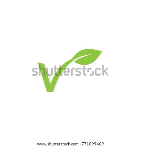 Letter V and leaf concept for vegetarian logo