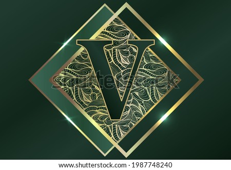 Letter V. Exclusive elite design of labels, badges, frames, logo, packaging. Gold monogram ornament on a green background. Great for perfumery, soap, lotions. Stock fotó ©