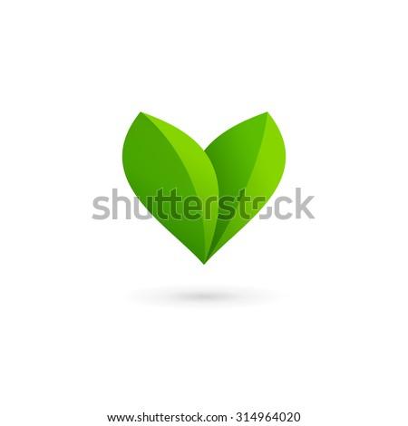 letter v heart eco leaves logo