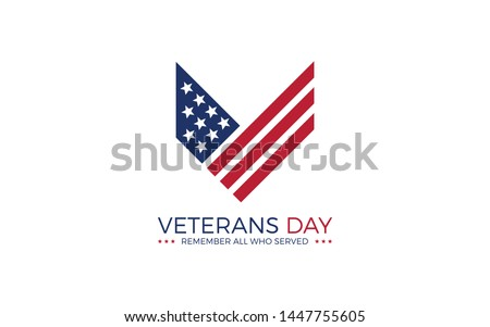 Letter V logo as the first word of the Veterans, formed USA flag