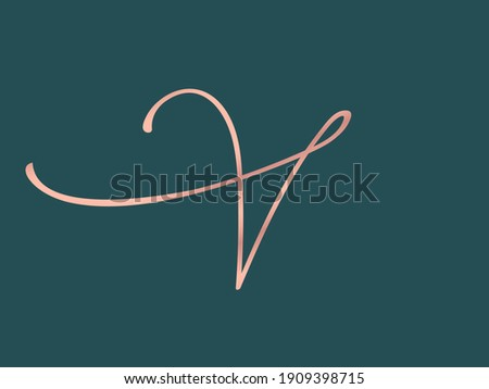 Letter V logo.Calligraphic signature icon.Intertwined lines.Lettering sign isolated on dark green background.Alphabet initial.Uppercase wedding character shape.Elegant, luxury script, beauty style. Stock foto ©