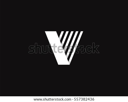 Letter V Logo Concept Creative Monochrome Monogram Emblem Design Template Line Graphic Alphabet Symbol