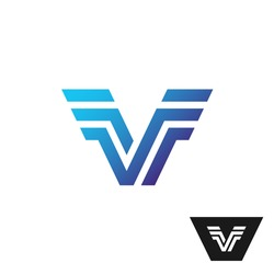 Letter V logo with wings at sides. Technical style parallel lines symbol.