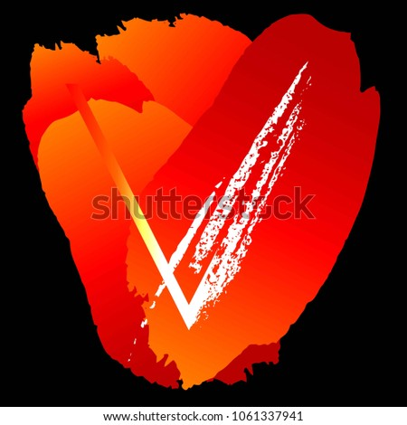 Letter V, red and orange brush strokes on a black background. Monogram. Logo.