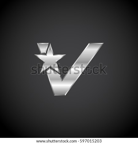 letter v star with metallic