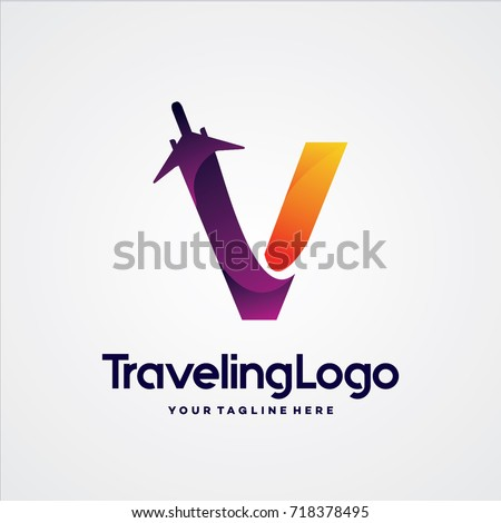 letter v travel logo template