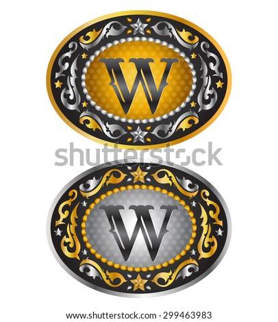 letter w   cowboy belt buckle